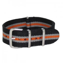 Black/Gray/Orange Nato Strap