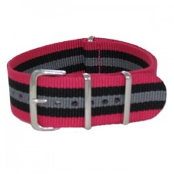 Bracelet Nato Rose/Noir/Gris