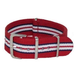 Bracelet Nato Rouge Rayures Bleues Blanches et Rouges