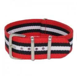 Bracelet Nato Rouge/Noir/Blanc