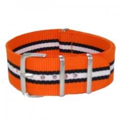 Bracelet Nato Orange/Noir/Blanc