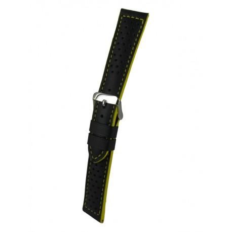 Bracelet Montre Noir/Jaune Sport Cuir Perforé