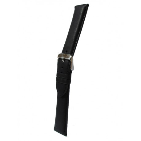 Black Cowhide Leather Watch Strap with Square Padding