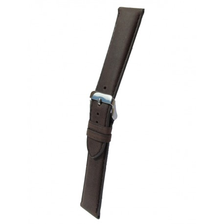 Dark Brown Cowhide Leather Watch Strap with Square Padding