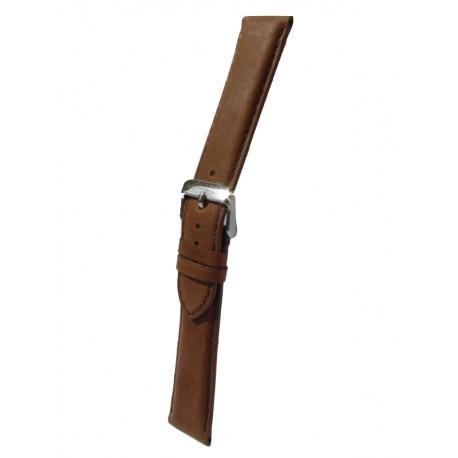 Bracelet Montre Cuir Marron Clair Rembourrage Carré Vachette Véritable