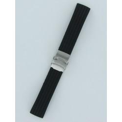 Bracelet Montre Silicone Rayé Noir Avec Boucle Déployante