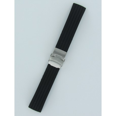 Black Striped Silicone Strap With Folding Buckle