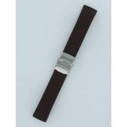 Brown Striped Silicone Strap With Folding Buckle