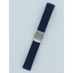 Bracelet Montre Silicone Rayé Bleu Marine Avec Boucle Déployante