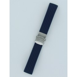 Navy Blue Striped Silicone Strap With Folding Buckle