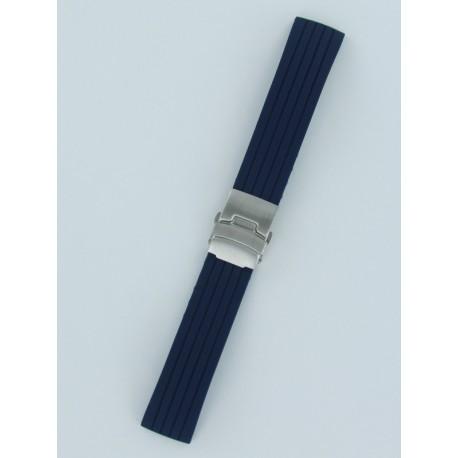 Marine Silicone Bleu Avec Bracelet Boucle Rayé Déployante Montre 80POkwn