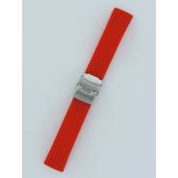 Bracelet Montre Silicone Rayé Rouge Avec Boucle Déployante