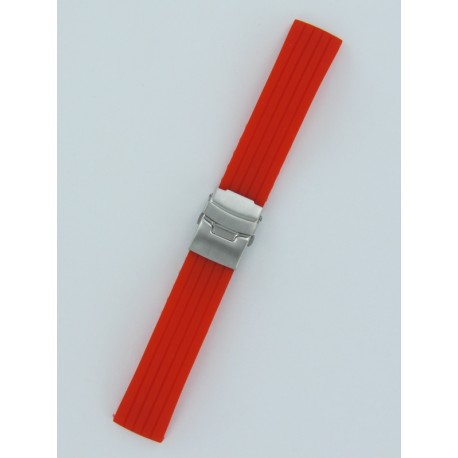 Red Striped Silicone Strap With Folding Buckle