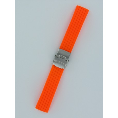 Orange Striped Silicone Strap With Folding Buckle