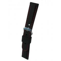 Bracelet Montre Silicone Sport Piqué Rouge Bombage Forme Carrée