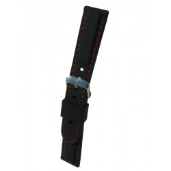 Silicone Watch Band With Red Stitching and Square Padding