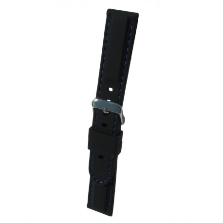 Silicone Watch Band With Blue Stitching and Square Padding