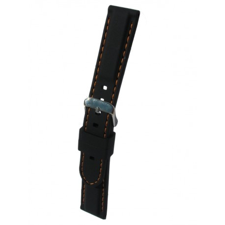 Silicone Watch Band With Orange Stitching and Square Padding