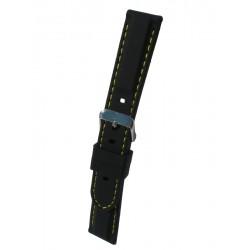 Bracelet Montre Silicone Sport Piqué Jaune Bombage Forme Carrée