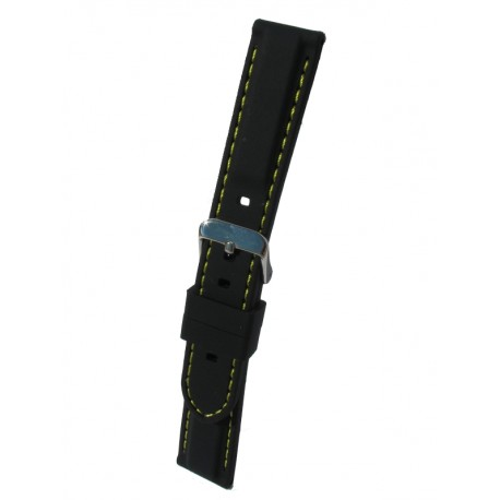 Silicone Watch Band With Yellow Stitching and Square Padding