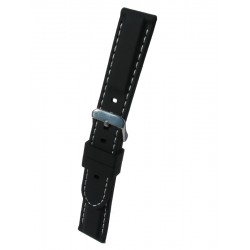 Silicone Watch Band With White Stitching and Square Padding