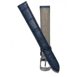 Bracelet Montre Femme Imitation Alligator Bleu Cuir de Veau