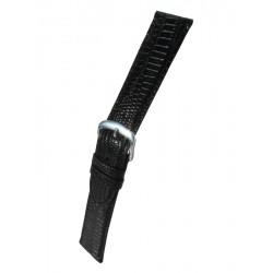 Bracelet Montre Cuir Noir Imitation Téju Plat