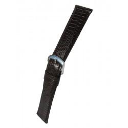 Bracelet Montre Cuir Marron Imitation Téju Plat