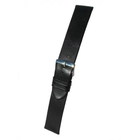 Bracelet Montre Noir Extra-Plat Cuir Agneau Rembordé Sans Piqûre