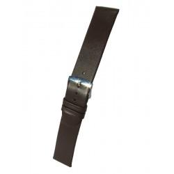 Bracelet Montre Marron Extra-Plat Cuir Agneau Rembordé Sans Piqûre