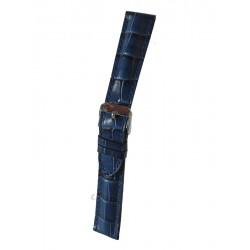 Bracelet Montre Imitation Alligator Bleu Marine Bombé Cuir de Veau