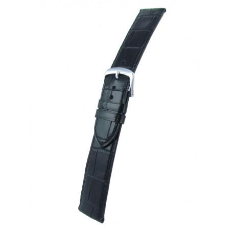 Extra Long Black Flat Alligator Grain Watch Strap