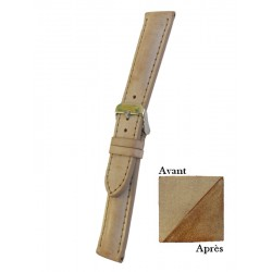 Gold Leather Watch Strap With Patina