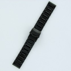 Solid Steel Watch Band Black PVD Finish