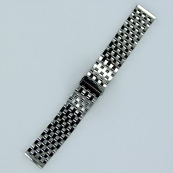 7-Row Links Stainless Steel Watch Band Polished Steel Finish