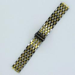 Bracelet Montre Acier Massif 7 rangées de maillons Finition Acier/Doré