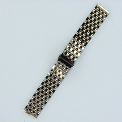 7-Row Links Stainless Steel Watch Band Steel/Rose Gold Finish