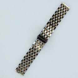 Bracelet Montre Acier Massif 7 rangées de maillons Finition Acier/Or Rose