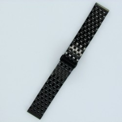 7-Row Links Stainless Steel Watch Band Black PVD Finish