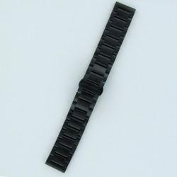 Bracelet Montre Acier Massif Finition Noir PVD Mat Boucle Invisible