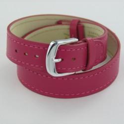 Bracelet Montre Double Tour Cuir Rose Femme
