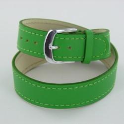 Bracelet Montre Double Tour Cuir Vert Femme