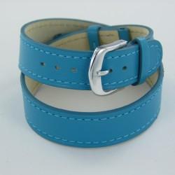 Bracelet Montre Double Tour Cuir Turquoise Femme