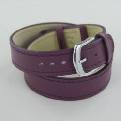 Bracelet Montre Double Tour Cuir Violet Femme