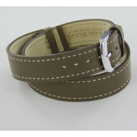 Taupe Double Wrap Leather Watch Strap for Ladies