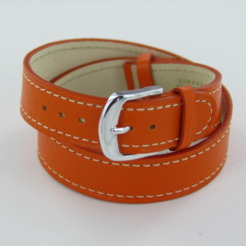 bracelet montre double tour femme cuir orange. Black Bedroom Furniture Sets. Home Design Ideas