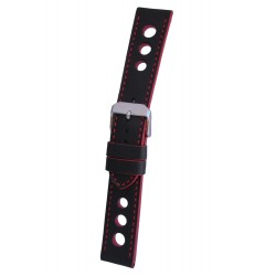 Black Racing Watch Strap with Red Stitching and Edges
