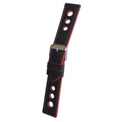 Black Racing Watch Strap with Orange Stitching and Edges