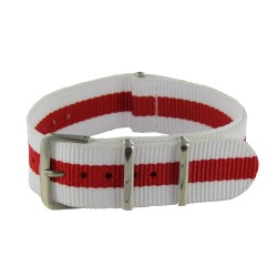Bracelet Nato Blanc/Rouge