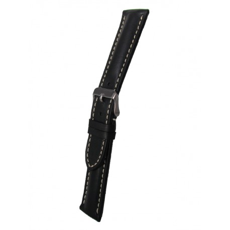 Black Breitling Style Leather Watch Strap White Stitching